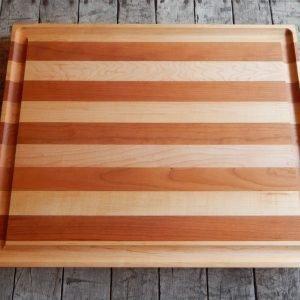 Flat Maple/Cherry Stripe Cutting Board with Trough