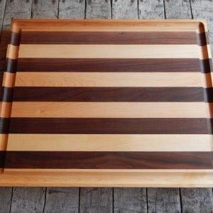 Flat Maple/Walnut Stripe Cutting Board with Trough